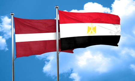 egypt flag: Latvia flag with egypt flag, 3D rendering