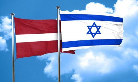 latvia flag: Latvia flag with Israel flag, 3D rendering Stock Photo