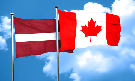 latvia: Latvia flag with Canada flag, 3D rendering