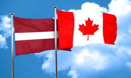 latvia flag: Latvia flag with Canada flag, 3D rendering