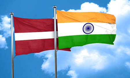 latvia flag: Latvia flag with India flag, 3D rendering