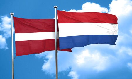 netherlands flag: Latvia flag with Netherlands flag, 3D rendering