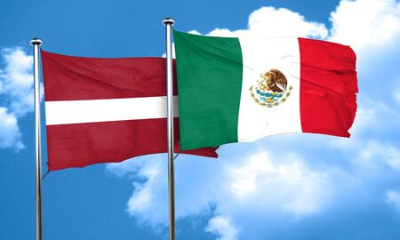 latvia flag: Latvia flag with Mexico flag, 3D rendering