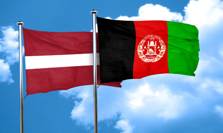 latvia flag: Latvia flag with afghanistan flag, 3D rendering Stock Photo
