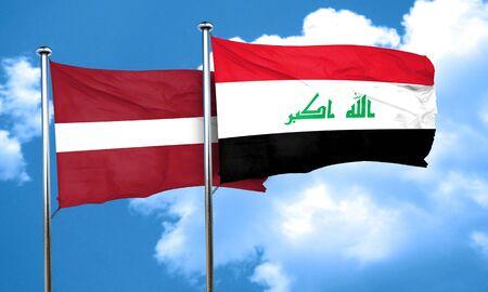 latvia flag: Latvia flag with Iraq flag, 3D rendering