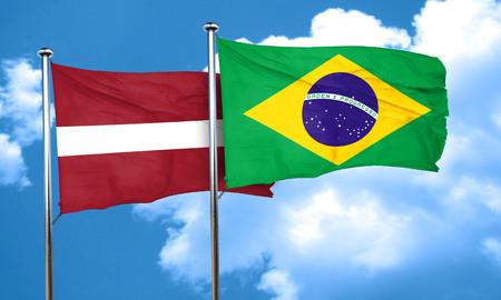 latvia flag: Latvia flag with Brazil flag, 3D rendering Stock Photo