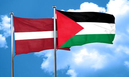 palestine: Latvia flag with Palestine flag, 3D rendering