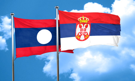 serbia flag: Laos flag with Serbia flag, 3D rendering
