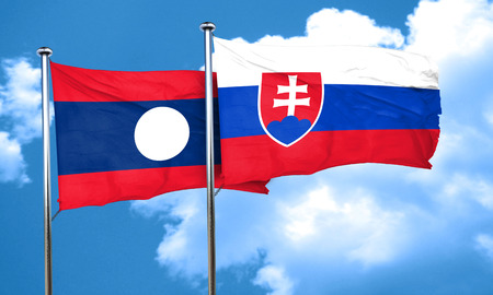 slovakia flag: Laos flag with Slovakia flag, 3D rendering Stock Photo