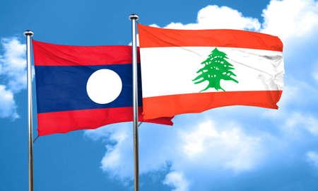 lebanon: Laos flag with Lebanon flag, 3D rendering