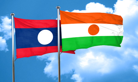 niger: Laos flag with Niger flag, 3D rendering Stock Photo