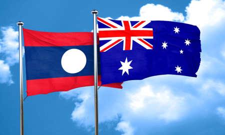 australian culture: Laos flag with Australia flag, 3D rendering