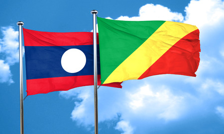 laos: Laos flag with congo flag, 3D rendering