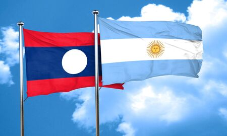 argentine: Laos flag with Argentine flag, 3D rendering