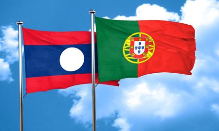 drapeau portugal: drapeau Laos avec le Portugal drapeau, rendu 3D