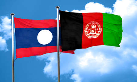 afghan: Laos flag with afghanistan flag, 3D rendering