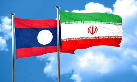 laos: Laos flag with Iran flag, 3D rendering Stock Photo