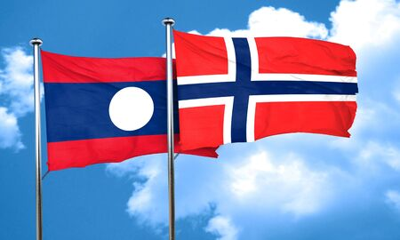 norway flag: Laos flag with Norway flag, 3D rendering Stock Photo