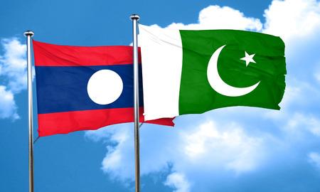 pakistan flag: Laos flag with Pakistan flag, 3D rendering Stock Photo