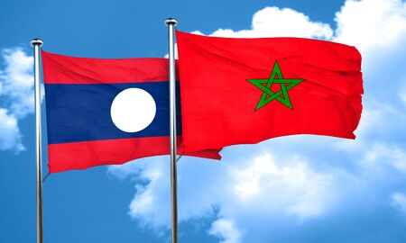 laos: Laos flag with Morocco flag, 3D rendering