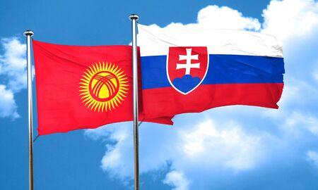 kyrgyzstan: Kyrgyzstan flag with Slovakia flag, 3D rendering