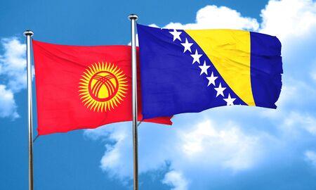 herzegovina: Kyrgyzstan flag with Bosnia and Herzegovina flag, 3D rendering