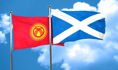 kyrgyzstan: Kyrgyzstan flag with Scotland flag, 3D rendering