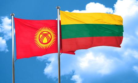 kyrgyzstan: Bandera de Kirguistán con la bandera de Lituania, 3D