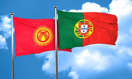 portugese: Kyrgyzstan flag with Portugal flag, 3D rendering