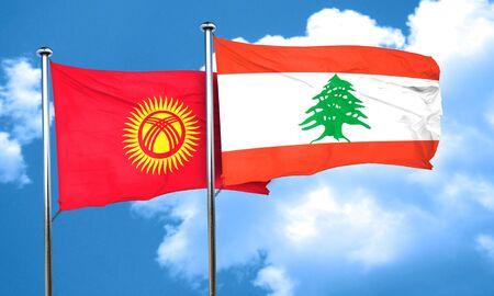 lebanon: Kyrgyzstan flag with Lebanon flag, 3D rendering