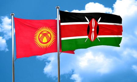 kenya: Kyrgyzstan flag with Kenya flag, 3D rendering Stock Photo
