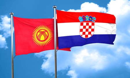 bandera de croacia: Bandera de Kirguistán con la bandera de Croacia, 3D