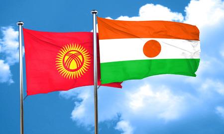 kyrgyzstan: Bandera de Kirguistán con la bandera de Niger, 3D