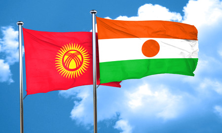 niger: Kyrgyzstan flag with Niger flag, 3D rendering Stock Photo