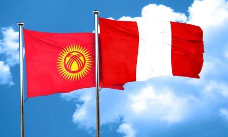 bandera peru: Kyrgyzstan flag with Peru flag, 3D rendering Foto de archivo
