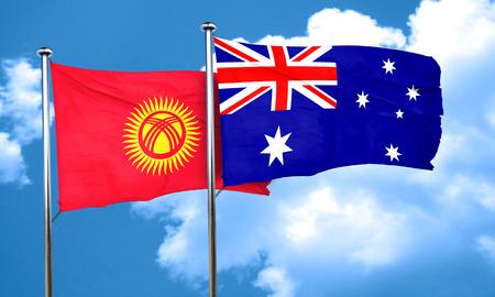 kyrgyzstan: Bandera de Kirguistán con la bandera de Australia, 3D Foto de archivo