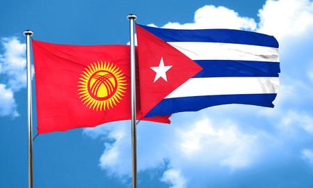 cuba flag: Kyrgyzstan flag with cuba flag, 3D rendering Stock Photo