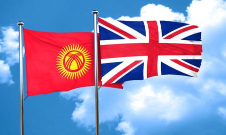 bandera de gran bretaña: Kyrgyzstan flag with Great Britain flag, 3D rendering Foto de archivo