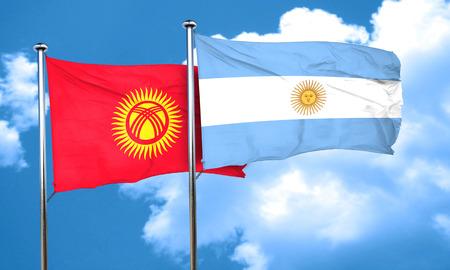 kyrgyzstan: Bandera de Kirguistán con la bandera argentina, 3D