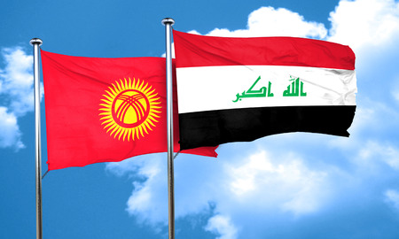 kyrgyzstan: Kyrgyzstan flag with Iraq flag, 3D rendering Stock Photo