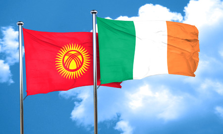 bandera de irlanda: Kyrgyzstan flag with Ireland flag, 3D rendering