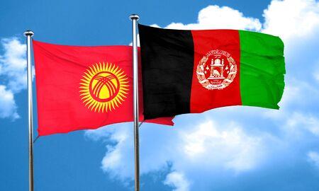 kyrgyzstan: Kyrgyzstan flag with afghanistan flag, 3D rendering Stock Photo
