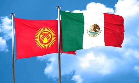 kyrgyzstan: Kyrgyzstan flag with Mexico flag, 3D rendering