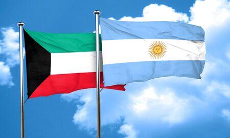 argentine: Kuwait flag with Argentine flag, 3D rendering