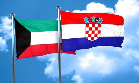 bandera de croacia: bandera de Kuwait con la bandera de Croacia, 3D