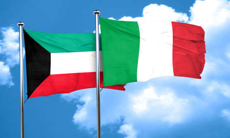 italian politics: Kuwait flag with Italy flag, 3D rendering Stock Photo