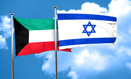 israel flag: Kuwait flag with Israel flag, 3D rendering