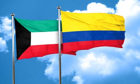 bandera de colombia: bandera de Kuwait con la bandera de Colombia, 3D Foto de archivo
