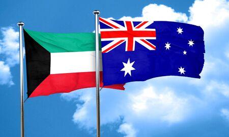australia flag: Kuwait flag with Australia flag, 3D rendering