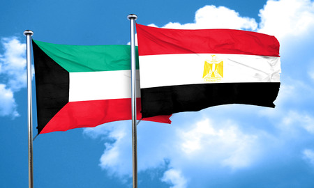 bandera egipto: bandera de Kuwait con la bandera de Egipto, 3D Foto de archivo